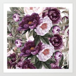 Purple Plum Pink Watercolor Peonies and Greenery Art Print