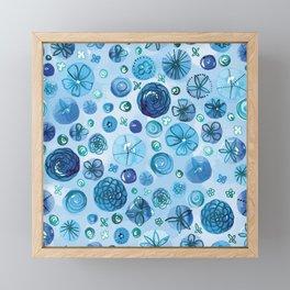 Flowers in Circles | Original Blue Framed Mini Art Print