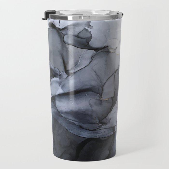 Calm but Dramatic Light Monochromatic Black & Grey Abstract Travel Mug