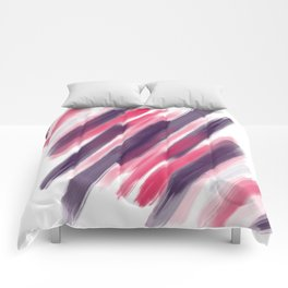 Pink Purple Modern Girly Brushstrokes Paint Comforters