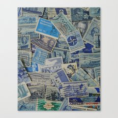 Vintage Postage Stamp Collection - Blue Canvas Print