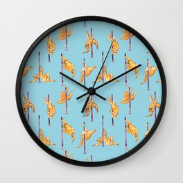 Sloth Pole Dancing Watercolor Wall Clock