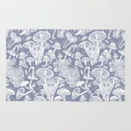 Delicious Autumn botanical poison IV // blue grey background Rug