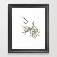 fishing in the fish tank Framed Art Print