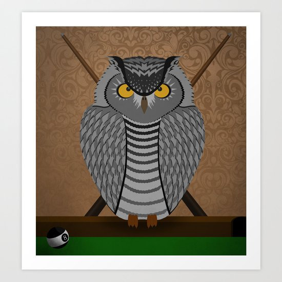 owl playing billiards Art Print