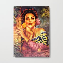 Jesus Helguera Painting of a Mexican Girl Beside Rattan Curtain Metal Print