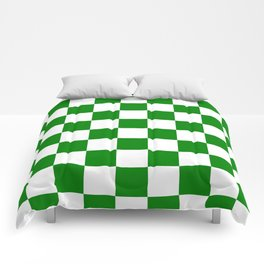 Checkered - White and Green Comforters