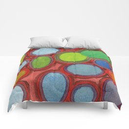 Abstract Moving Round Shapes Pattern Comforters