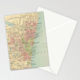 Vintage Map of Madras India (1909) Stationery Cards