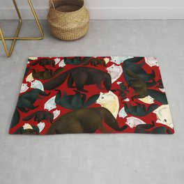 Sable marten tropical pattern Red Rug