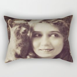 Mary Pickford - Vintage Lady with kitten Rectangular Pillow