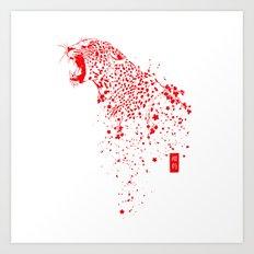 Sakura Leopard Art Print
