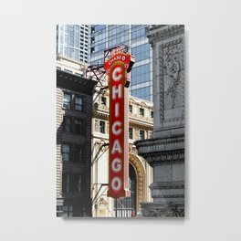 Chicago Theatre Vertical Sign Theater in Urban Loop Windy City Chicago Sign Metal Print