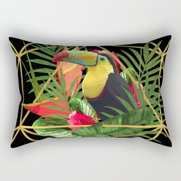 Bold Golden Geometric Tropical Bouquet With Toucan Rectangular Pillow