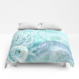 SEASHELL DREAMS   blue Comforters