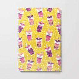 Bubble Tea Boba Pattern Metal Print