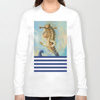 sea horse Long Sleeve T-shirts featuring Sea horse by Nataliya Derevyanko