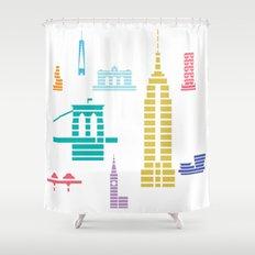 New York Skyline White Shower Curtain