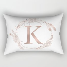 Letter K Rose Gold Pink Initial Monogram Rectangular Pillow