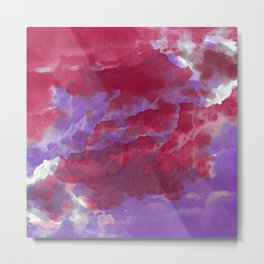 Hand painted pink violet watercolor  abstract clouds brushstrokes Metal Print