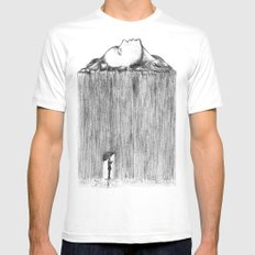 rain White Mens Fitted Tee LARGE