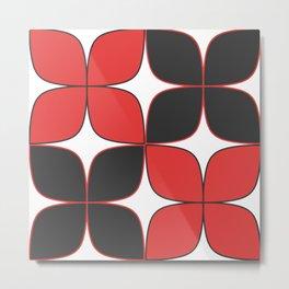 70's Flower Pattern Black Red Metal Print