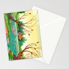 Pond and animals.  Stationery Cards