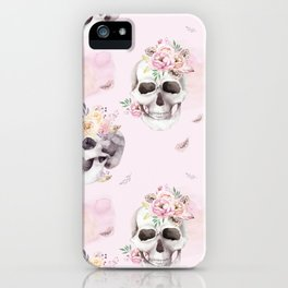 Floral Skull Pattern iPhone Case