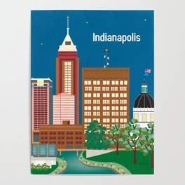 Indianapolis, Indiana - Skyline Illustration by Loose Petals Poster