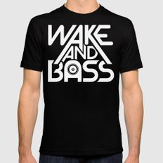 Wake And Bass (White) Mens Fitted Tee Black MEDIUM