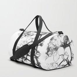 Cherry Blossoms Minimal Drawing Duffle Bag