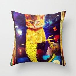 mermaid kitty Throw Pillow
