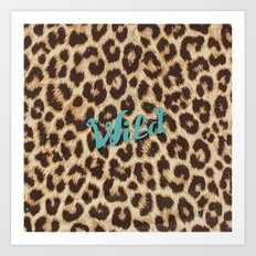 Leopard Print Teal Blue Wild Brown Girly Pattern Art Print