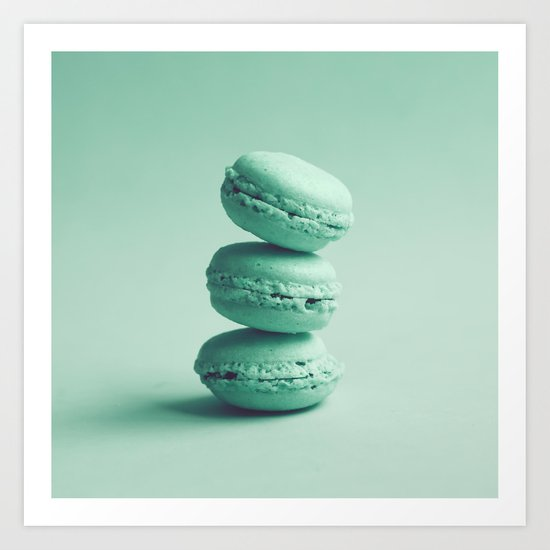 Sweet Turquoise Tower (Three Macaroons) Art Print