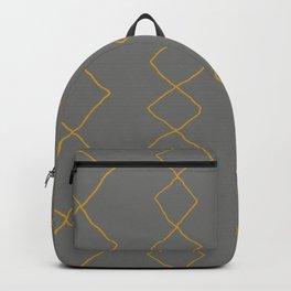Moroccan Diamond Stripe in Grey Mustard Backpack