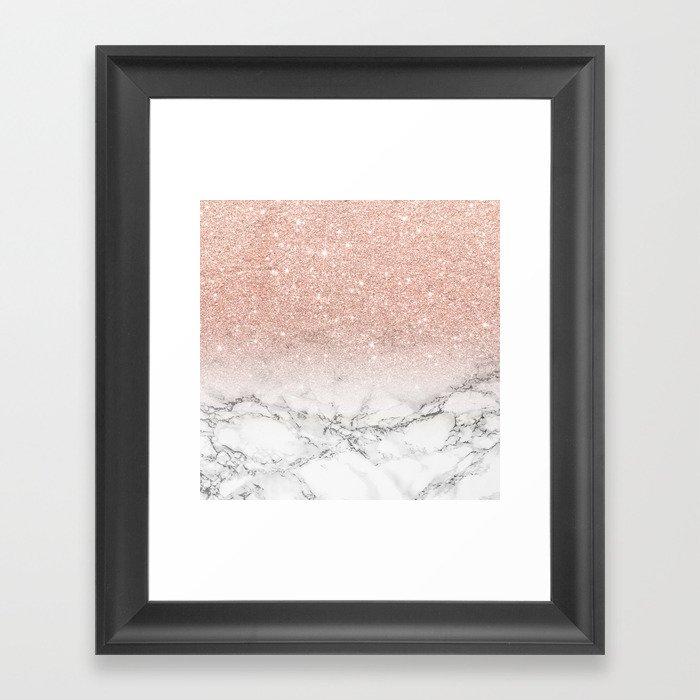 Modern faux rose gold pink glitter ombre white marble Gerahmter Kunstdruck