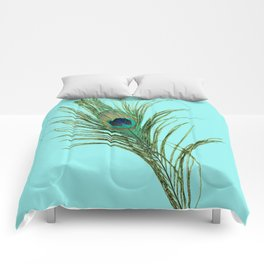 Peacock Feather on Blue Background Comforters