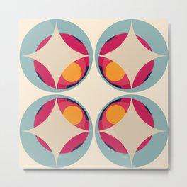 70s Retro Design Colorful Classic Abstract Minimal Retro Style Art Metal Print