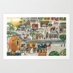 lions in rome Art Print