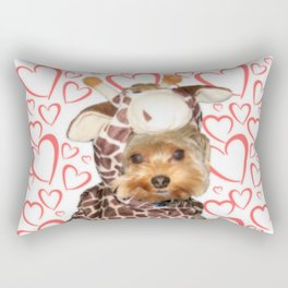 Dog | Dogs |Giraffe Costume | Yorkie with Hearts | Nadia Bonello Rectangular Pillow