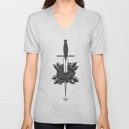 Dagger in Rose (Black) Unisex V-Neck