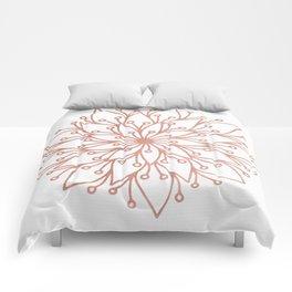 Mandala Blooming Rose Gold on White Comforters