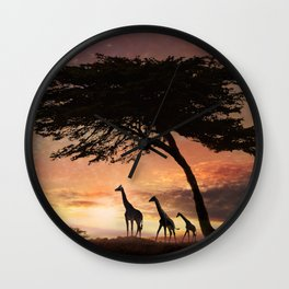 Purple Safari Sunset- giraffe family Wall Clock