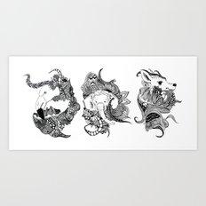 Inking Flamingo Elephant Deer Art Print