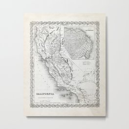 California and San Francisco Map Metal Print