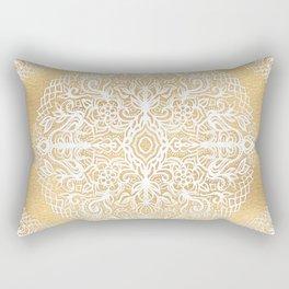 White Gouache Doodle on Gold Paint Rectangular Pillow