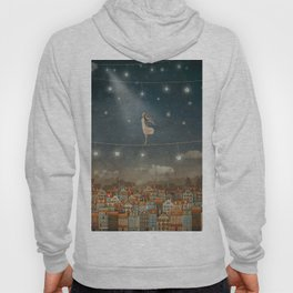 Illustration of  cute houses and  pretty girl   in night sky Hoody