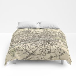 Vintage Map of Glasgow Scotland (1872) Comforters