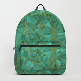 Triangular Structures Turquoise Geometric Facets with Gold Lines Backpack