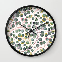 Simple Silver Dollar Eucalyptus Leaves Wall Clock